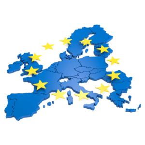 Europakarte mit Europasternen