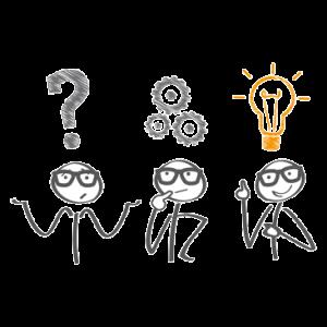 drei Strichmännchen mit Fragezeichen, Zahnrädern und Glühbirne über den Köpfen
