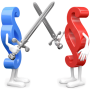 zwei Paragrafenmännchen mit Schwertern